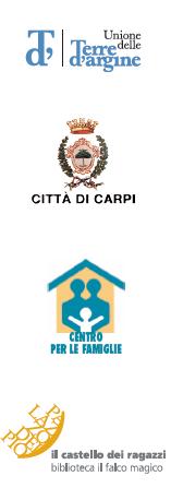 loghi: Unione delle Terre d'Argine - Città di Carpi - Centro per le Famiglie - Il Castelli dei Ragazzi