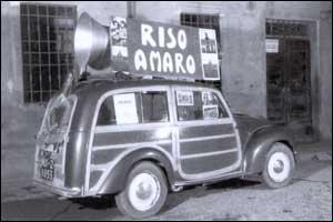 pubblicità ambulante del film De Santis 'Riso Amaro' - datatbile 1949 - Foto Gasparini - Carpi