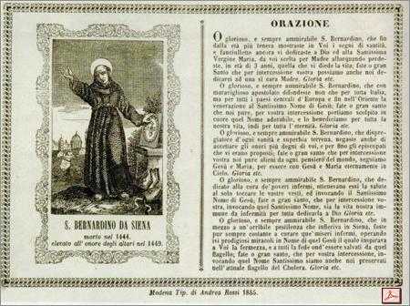 preghiera a S.Bernardino da Siena per liberare Carpi dal colera