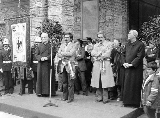 novembre 1981 le spoglie di S. Bernardino a Carpi saluto del sindaco dell'Aquila