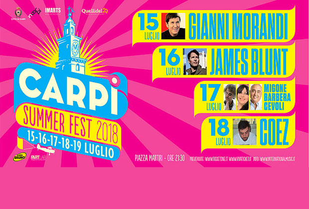 Carpi Summer Fest, da Morandi a Radio Bruno Estate
